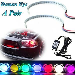 Rgb Color Led Demon Eye Bluetooth App Control Halo Ring Headlight Projector Kit