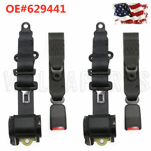 2x Universal 3 Point Retractable Seat Belts For Jeep Cj Yj Wrangler 1982 95 Usa