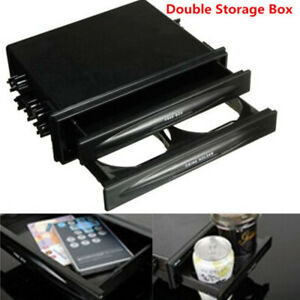 1x New Car Double Din Radio Installation Pocket Cup Holder Storage Box Durable