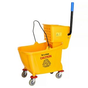Alpine Industries Yellow 9 Gallon Side Wringer Press Mop Bucket