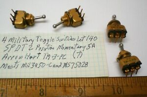 4 New Military Toggle Switches Spdt Arrow H tm 3 pc Lot 140 Made In Usa