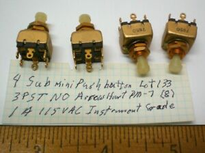 4 New Military Push Button Switches 3pst Arrow H pm 7 Lot 133 Made In Usa