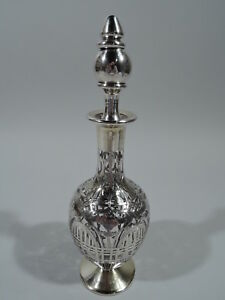 Black Starr Frost Decanter 87 Antique American Glass Silver Overlay
