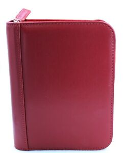 New Franklin Covey Red Smooth Leather Binder Organizer Size Small Nwt