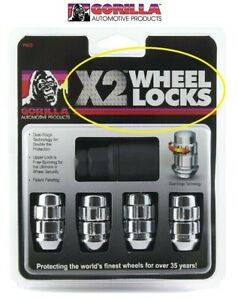 Gorilla X2 Wheel Locks 14mm X 1 50 Bulge Acorn Chrome 14x1 5 71641x