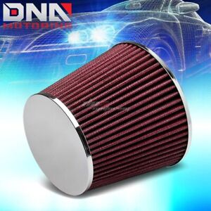 2 5 Universal Short Ram Cold Air Intake Round Gauze Red Rubber Filter Clamp