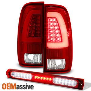 Fit 1997 2003 Ford F150 Red Clear Led Tube Tail Lights Led 3rd Brake Lamp