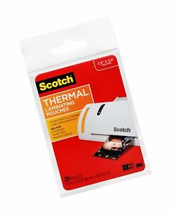Scotch Thermal Laminating Pouches 2 5 X 3 5 inches Wallet Size 20 pack tp