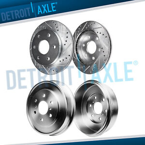 Front Drilled Brake Rotors Rear Brake Drum For 2005 2008 Silverado Sierra 1500