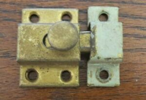 Vtg Hoosier Medicine Cabinet Cupboard Door Slide Latch Catch Brass Finish