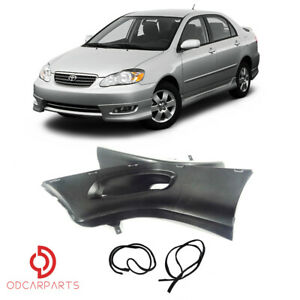 Fit 2005 2008 Toyota Corolla Front Bumper Body Lips Spoiler Pair Black