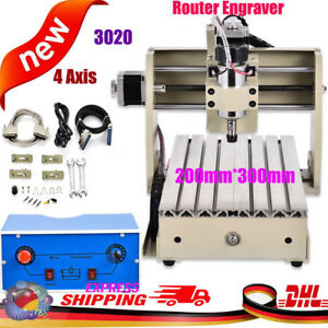 4 Axis Cnc Router 3020 Engraving Milling Machine Woodworking Chrome Cutter 300w