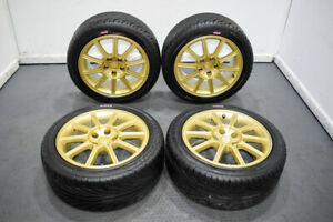 Jdm Version 9 5x114 3 Gold Sti Wheels For Sale 17x8 53 Clears Brembos