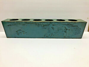 20 3 4 Antique Wood Candle Sugar Mold In Turquoise Blue Paint W 6 Holes