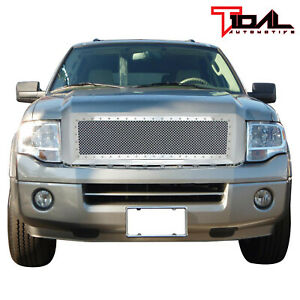 Tidal Fits 07 14 Ford Expedition Grill Stud Chrome Steel Mesh Front Hood Shell