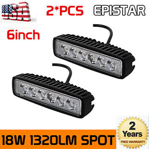 2pc 6inch 18w Led Work Light Bar 4wd Offroad Flood Pods Fog Atv Suv Driving Lamp