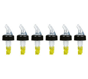 pack Of 6 Measured Liquor Pourers 1 5 Oz Clear Spout W Yellow Tail Pourer