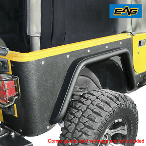 Eag Rear Fender Flare With Tube Armor Offroad Fit For 97 06 Jeep Wrangler Tj