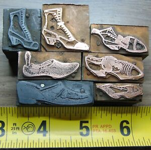 Printing Letterpress Printers Block Lot Of 7 Different Shoes Foot Wear
