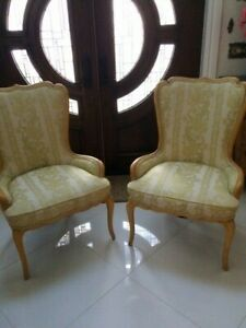 Pair Vintage Antique French Bergere Arm Chairs Honey Color Wood Two
