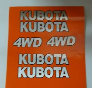 Kubota Tractor Side By Side Decals Backhoe Decal Kit Silver With Black Outline