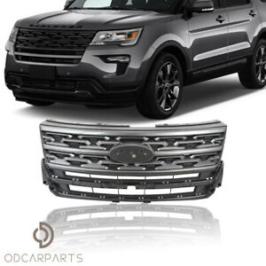 Fit Ford Explorer Limited Xlt 2018 2019 Front Upper Grille Grill Factory Gray