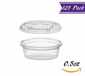 125 Pack 0 5 ounce Plastic Portion Cups With Lids Clear Condiment Cups