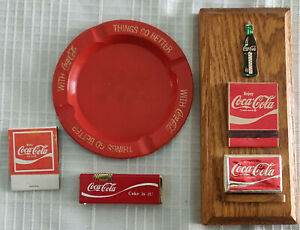 Coca Cola Lighter  Ashtray  Matches Mounted on Wood Placque
