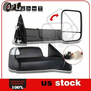 Power Heated Turn Signal Puddle Light Tow Mirrors For 16 17 Dodge Ram 1500 3500