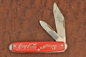 VINTAGE NOVELTY KNIFE CO MADE IN USA RED COCA COLA IN BOTTLES JACK 5 CENTS (6698