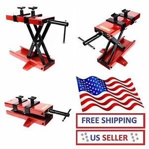 1100 Lb Motorcycle Crank Floor Lift Jack Stand Atv Heavy Duty Durable Home Shop