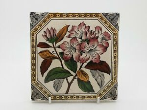 Rare Victorian Floral Aesthetic Movement Print Tint Tile 16