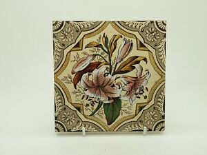 Rare Victorian Floral Aesthetic Movement Print Tint Tile 24