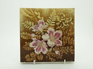 Rare Victorian Floral Aesthetic Movement Print Tint Tile 49