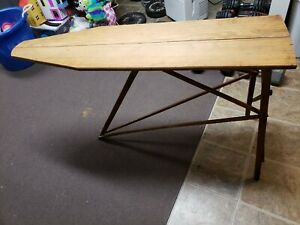 Antique Folding Wooden Ironing Board Rustic Primitive Wood 47x31 Inches