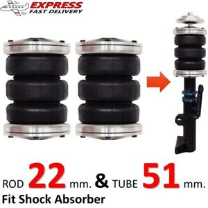 2 Universal Triple Bellow Air Bags Fit Shock Absorber 22 51 Ride Suspension Kit