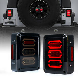 Pair Smoked Led Tail Lights Reverse Brake Rear Lamps For 07 18 Jeep Wrangler Jk