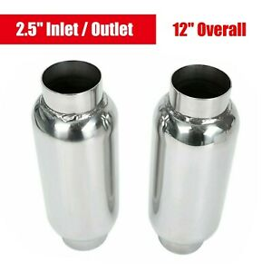 1 Pair 2 5 Inlet Outlet 12 Long Performance Mufflers Exhaust Resonator