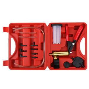 Hand Hose Vacuum Pump Brake Bleeder Tester Tool Kit Hose Adapter Set Case W0k9