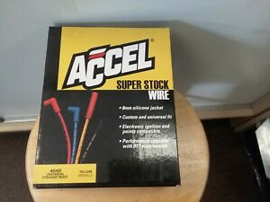 Accel 4040 Spark Plug Wire Set 8mm Yellow With Orange Straight Boots