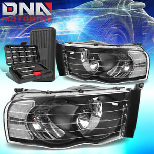 For 2002 2005 Dodge Ram 1500 2500 3500 Black Clear Corner Headlight Lamps Tools