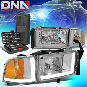 For 1994 2002 Dodge Ram 1500 2500 3500 Led Drl Headlight Lamp tools Chrome amber