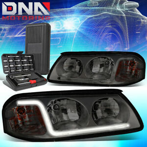 For 2000 2005 Chevy Impala Smoked Housing Amber Side Led Drl Headlights tools