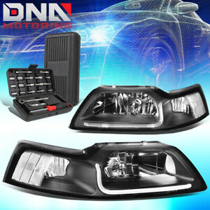For 1999 2004 Ford Mustang Led Drl L Bar Black Clear Signal Headlights Tools