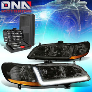 For 1998 2002 Honda Accord Led Drl Smoked Housing Amber Signal Headlights tools