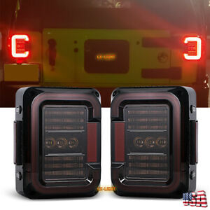 2020 Pair Rear Led Tail Light With Smoke Lens For Jeep Wrangler Jk Jku 2007 2018
