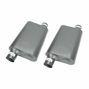 1pair 2 5 Inlet 2 5 outlet Mufflers Weld on Chambered Performance Race Offset