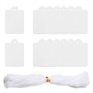 500ps White Jewelry Display Blank Paper Price Tags Card With Cotton Cord 45x28mm