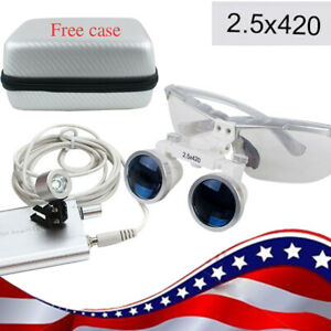 Usa Silver 2 5x420mm Dental Loupes Loupe Surgical Led Head Light carry Case