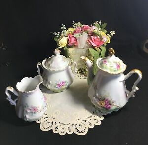 1907 Tea Set Bavaria Germany Hand Painted Signed Pot Sugar Creamer Roses